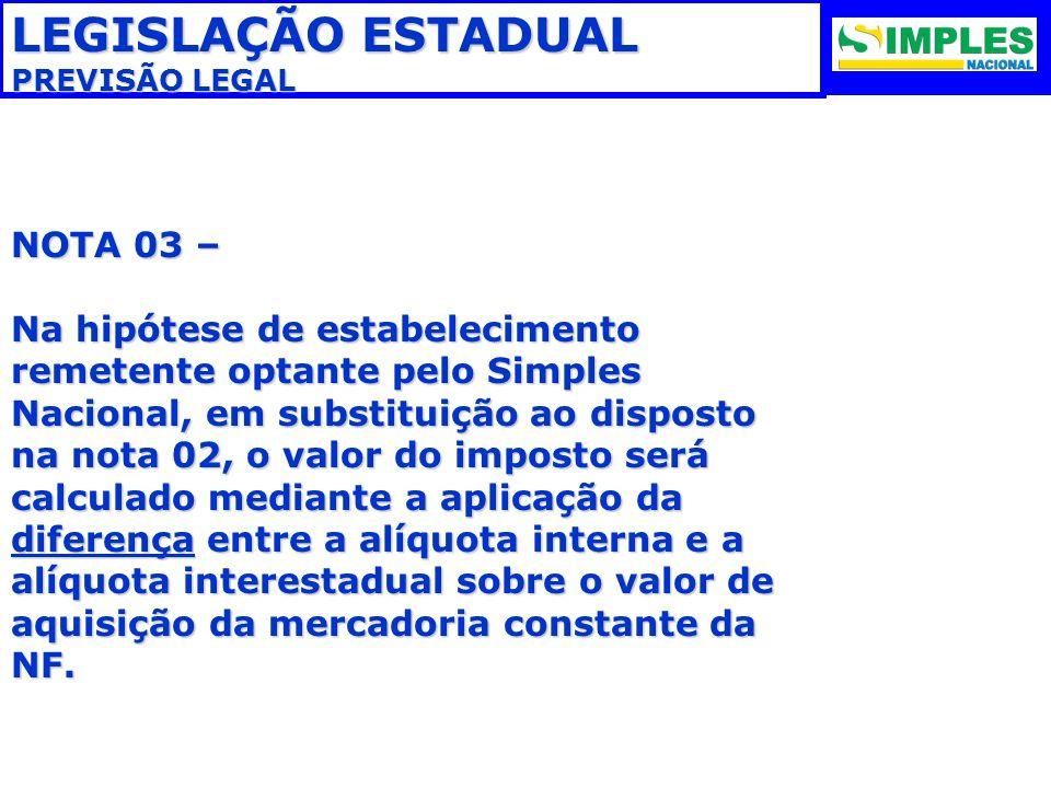 LEGISLAÇÃO ESTADUAL NOTA 03 –