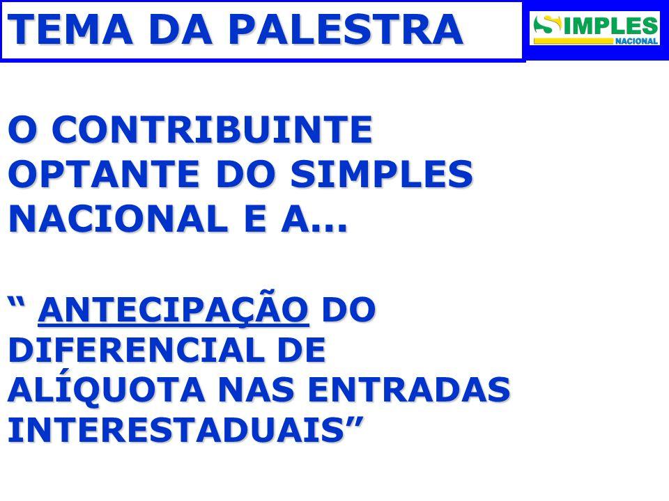 TEMA DA PALESTRA O CONTRIBUINTE OPTANTE DO SIMPLES NACIONAL E A...