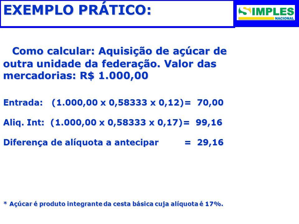 EXEMPLO PRÁTICO: Como calcular: Aquisição de açúcar de outra unidade da federação. Valor das mercadorias: R$ 1.000,00.