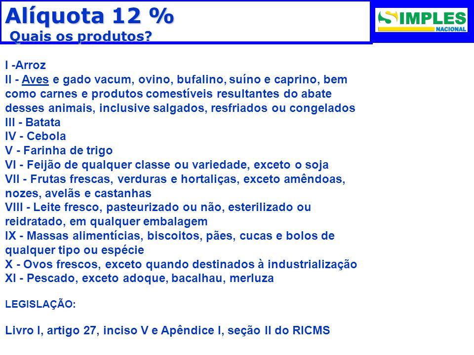 Alíquota 12 % Quais os produtos I -Arroz