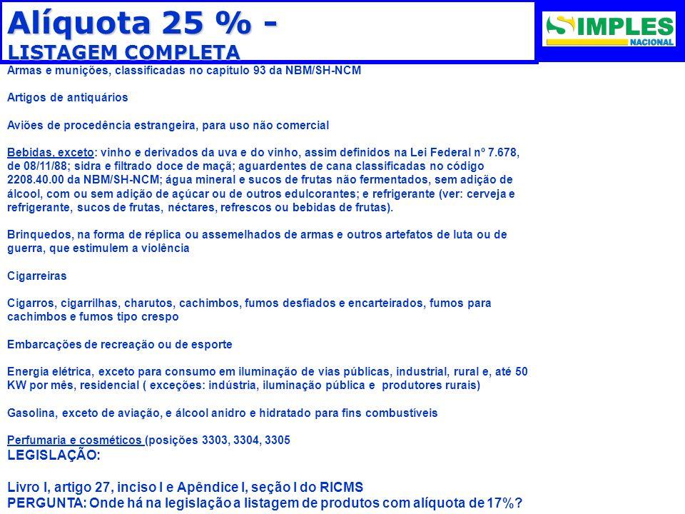Alíquota 25 % - LISTAGEM COMPLETA LEGISLAÇÃO: