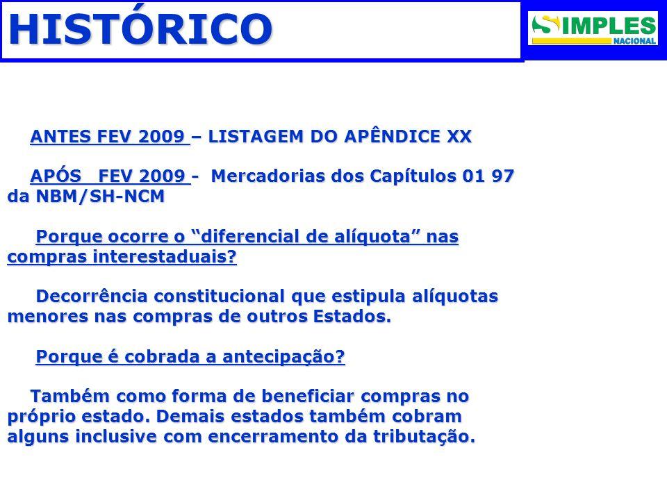 HISTÓRICO ANTES FEV 2009 – LISTAGEM DO APÊNDICE XX