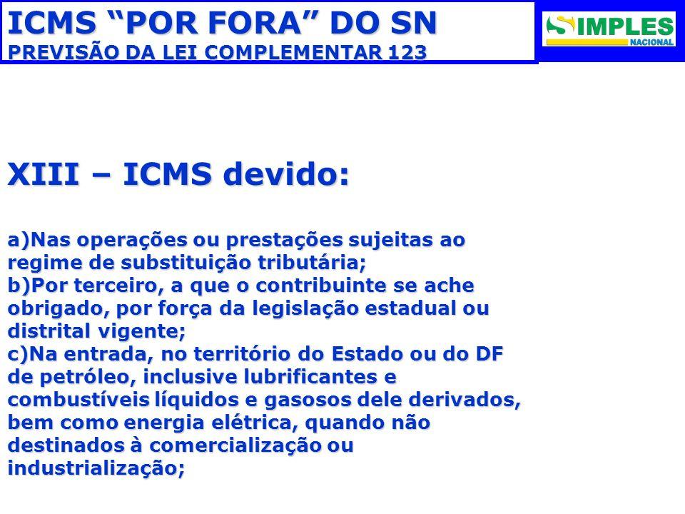 ICMS POR FORA DO SN XIII – ICMS devido: