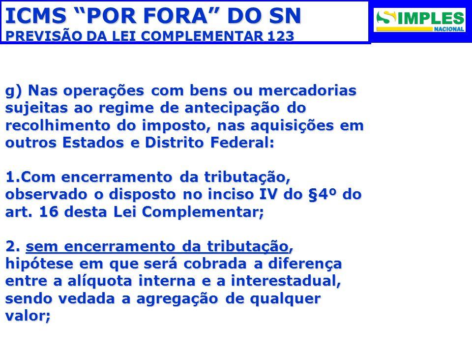 ICMS POR FORA DO SN PREVISÃO DA LEI COMPLEMENTAR 123.