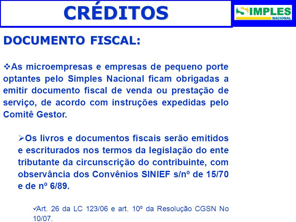 CRÉDITOS DOCUMENTO FISCAL:
