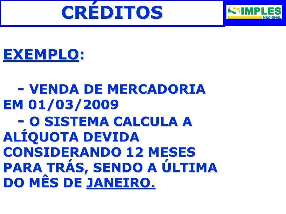 CRÉDITOS EXEMPLO: - VENDA DE MERCADORIA EM 01/03/2009