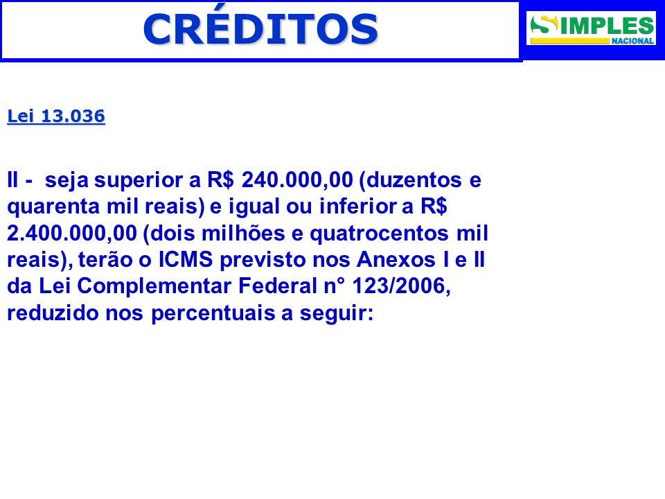 CRÉDITOS Lei 13.036.