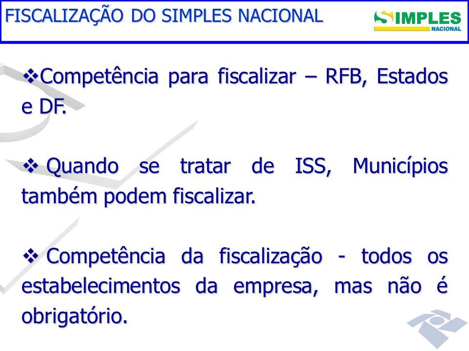 Competência para fiscalizar – RFB, Estados e DF.