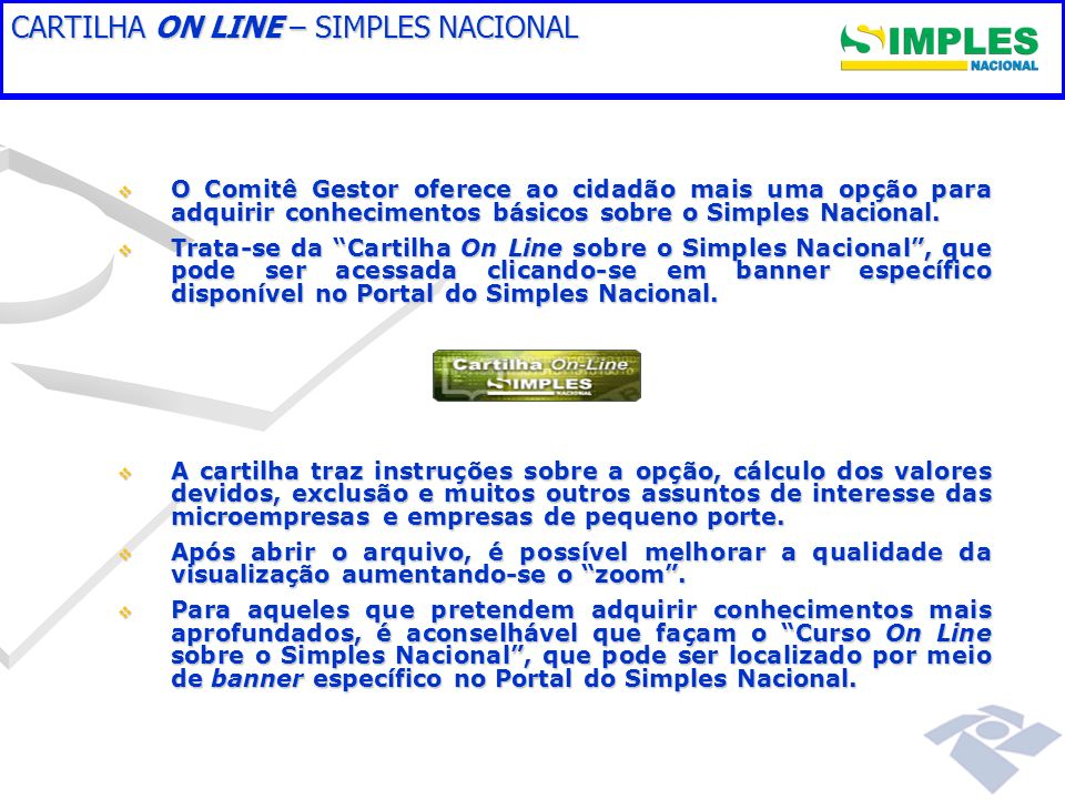 CARTILHA ON LINE – SIMPLES NACIONAL