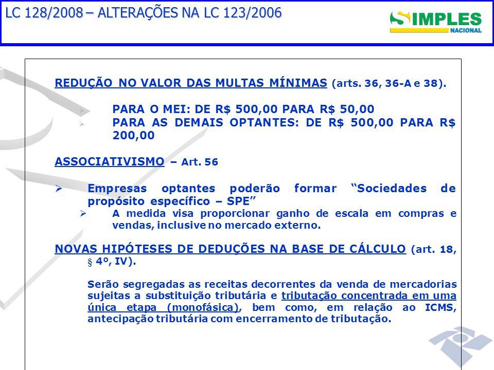 LC 128/2008 – ALTERAÇÕES NA LC 123/2006 REDUÇÃO NO VALOR DAS MULTAS MÍNIMAS (arts. 36, 36-A e 38). PARA O MEI: DE R$ 500,00 PARA R$ 50,00.