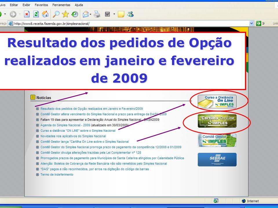 Resultado dos pedidos de Opção realizados em janeiro e fevereiro de 2009