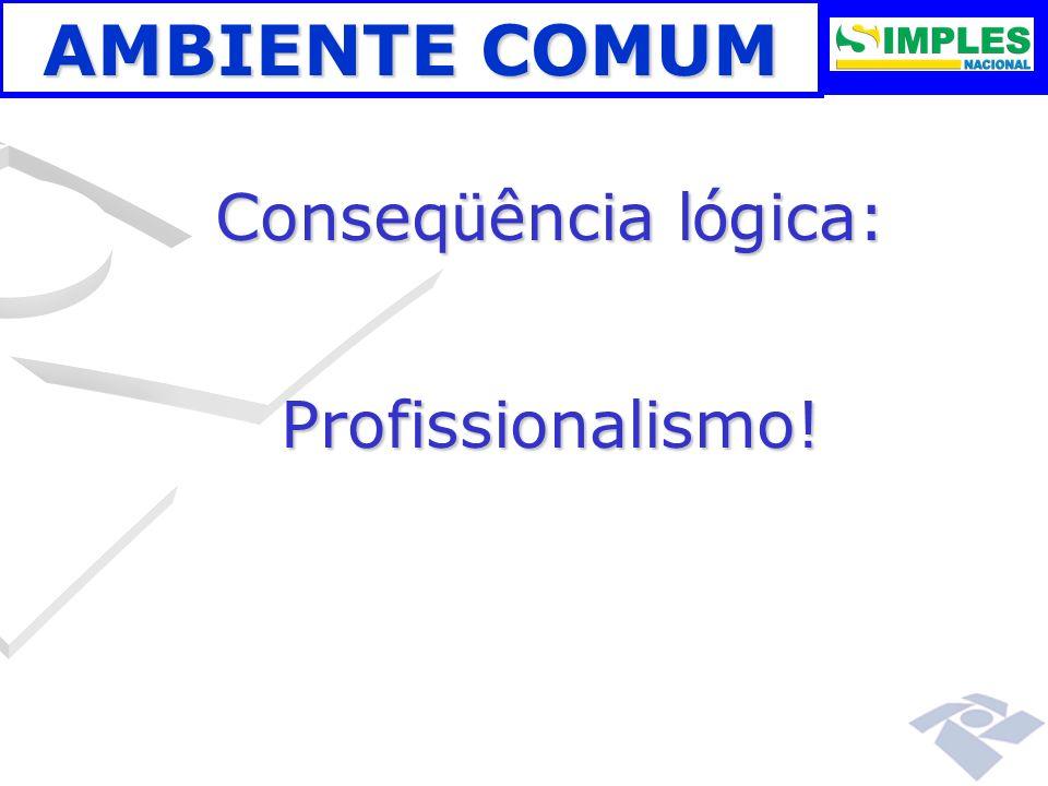 AMBIENTE COMUM Conseqüência lógica: Profissionalismo! 00:00: