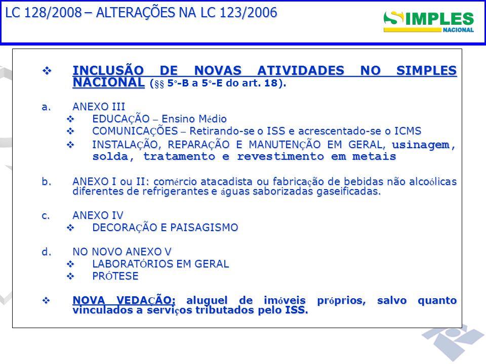 LC 128/2008 – ALTERAÇÕES NA LC 123/2006 INCLUSÃO DE NOVAS ATIVIDADES NO SIMPLES NACIONAL (§§ 5º-B a 5º-E do art. 18).