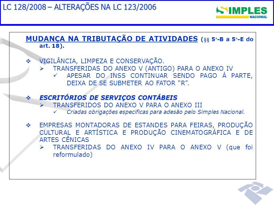 LC 128/2008 – ALTERAÇÕES NA LC 123/2006 MUDANÇA NA TRIBUTAÇÃO DE ATIVIDADES (§§ 5º-B a 5º-E do art. 18).