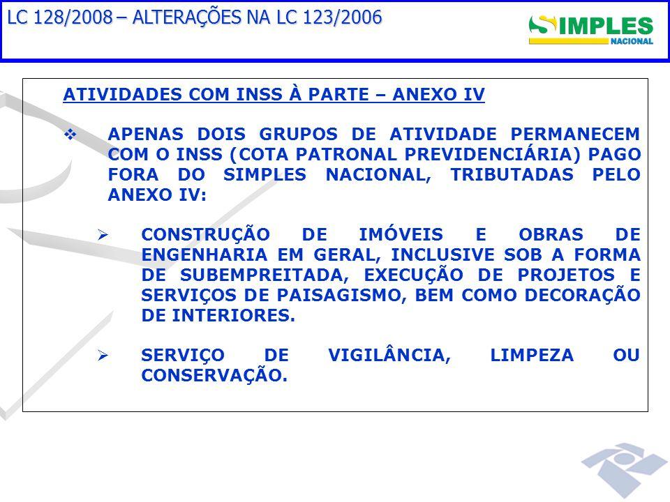 LC 128/2008 – ALTERAÇÕES NA LC 123/2006ATIVIDADES COM INSS À PARTE – ANEXO IV.