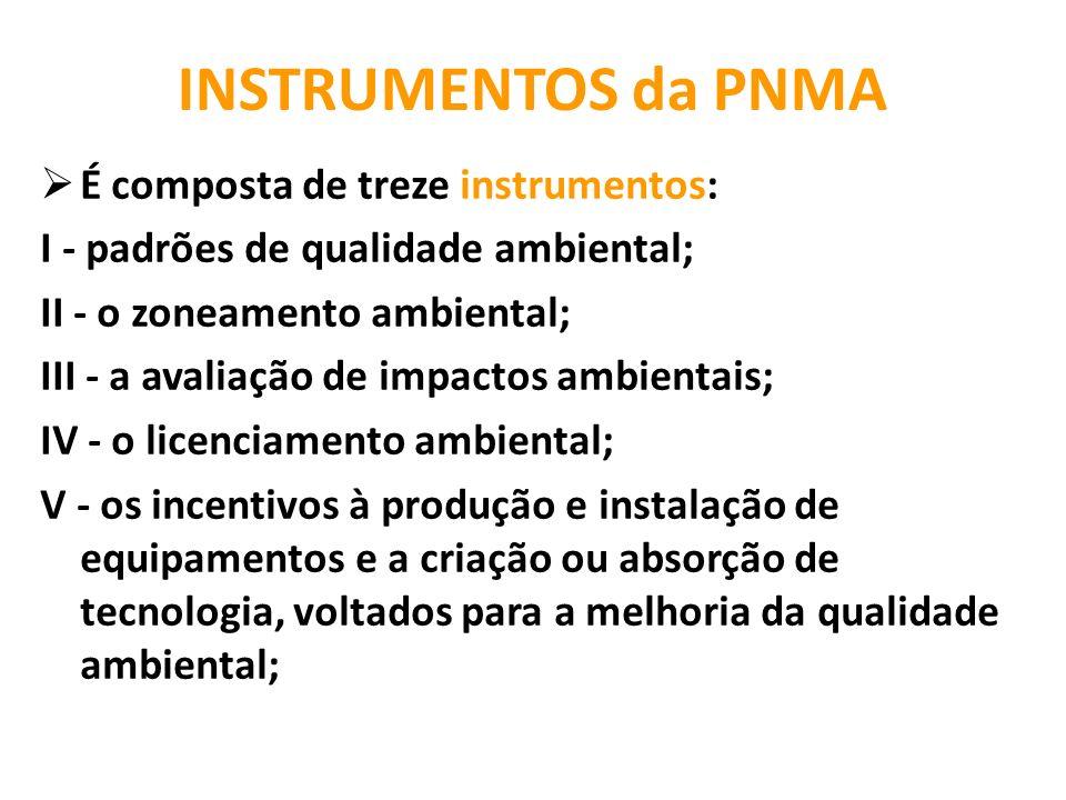 INSTRUMENTOS da PNMA É composta de treze instrumentos: