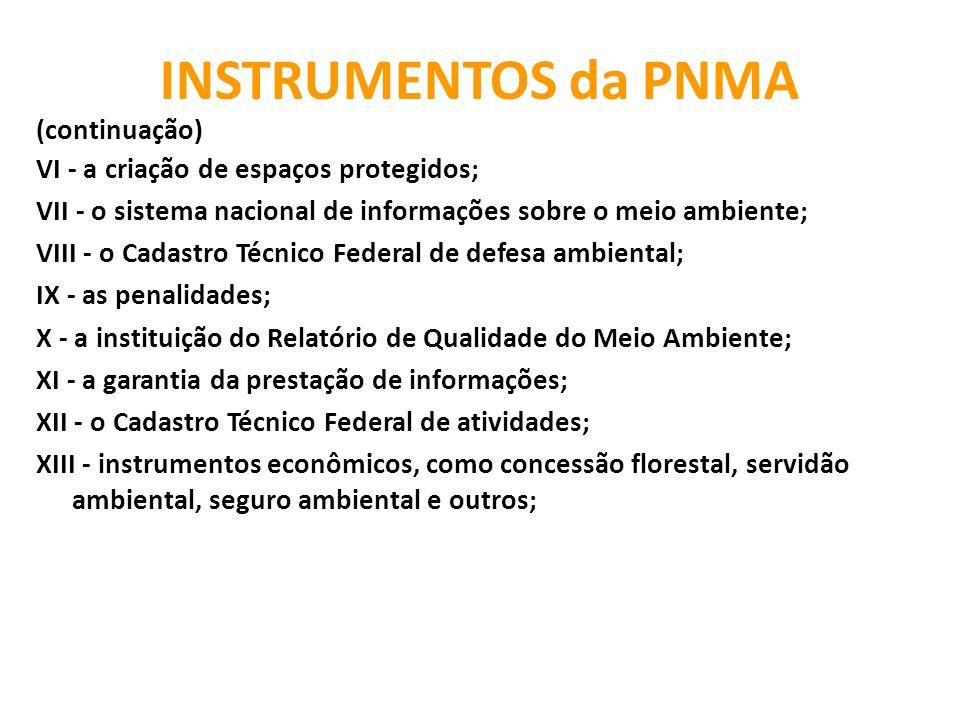 INSTRUMENTOS da PNMA (continuação)