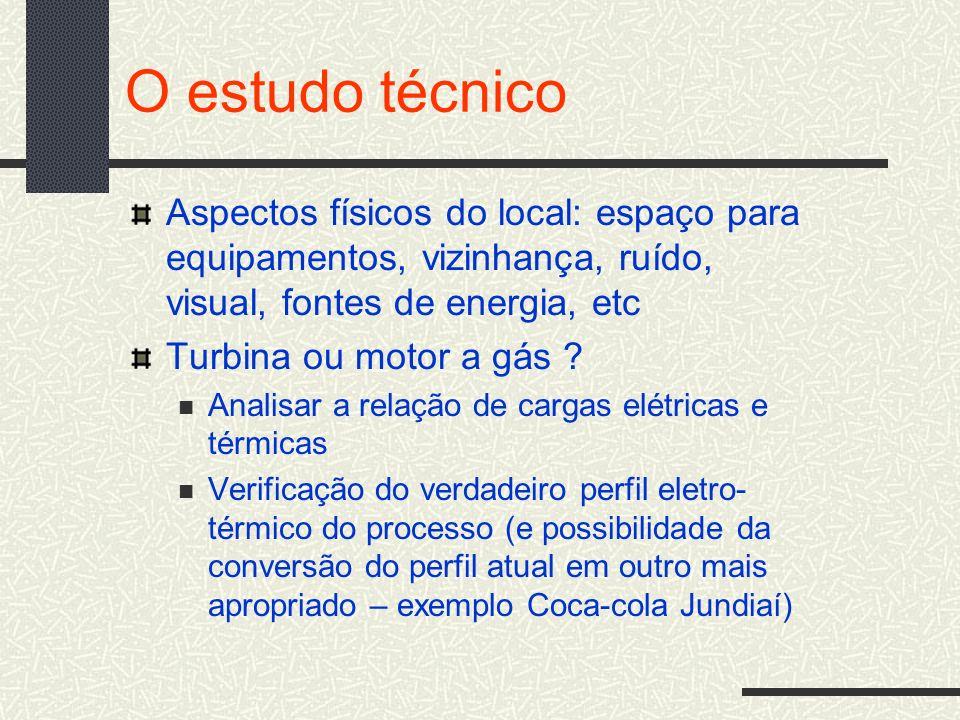 O estudo técnico Aspectos físicos do local: espaço para equipamentos, vizinhança, ruído, visual, fontes de energia, etc.