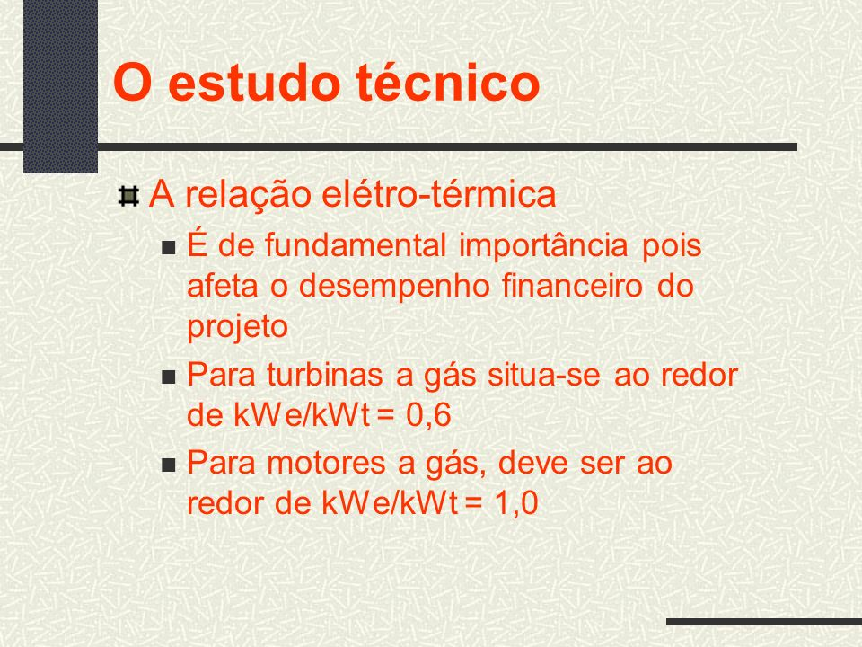 O estudo técnico A relação elétro-térmica