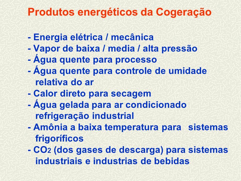 Produtos energéticos da Cogeração - Energia elétrica / mecânica - Vapor de baixa / media / alta pressão - Água quente para processo - Água quente para controle de umidade relativa do ar - Calor direto para secagem - Água gelada para ar condicionado refrigeração industrial - Amônia a baixa temperatura para sistemas frigoríficos - CO2 (dos gases de descarga) para sistemas industriais e industrias de bebidas