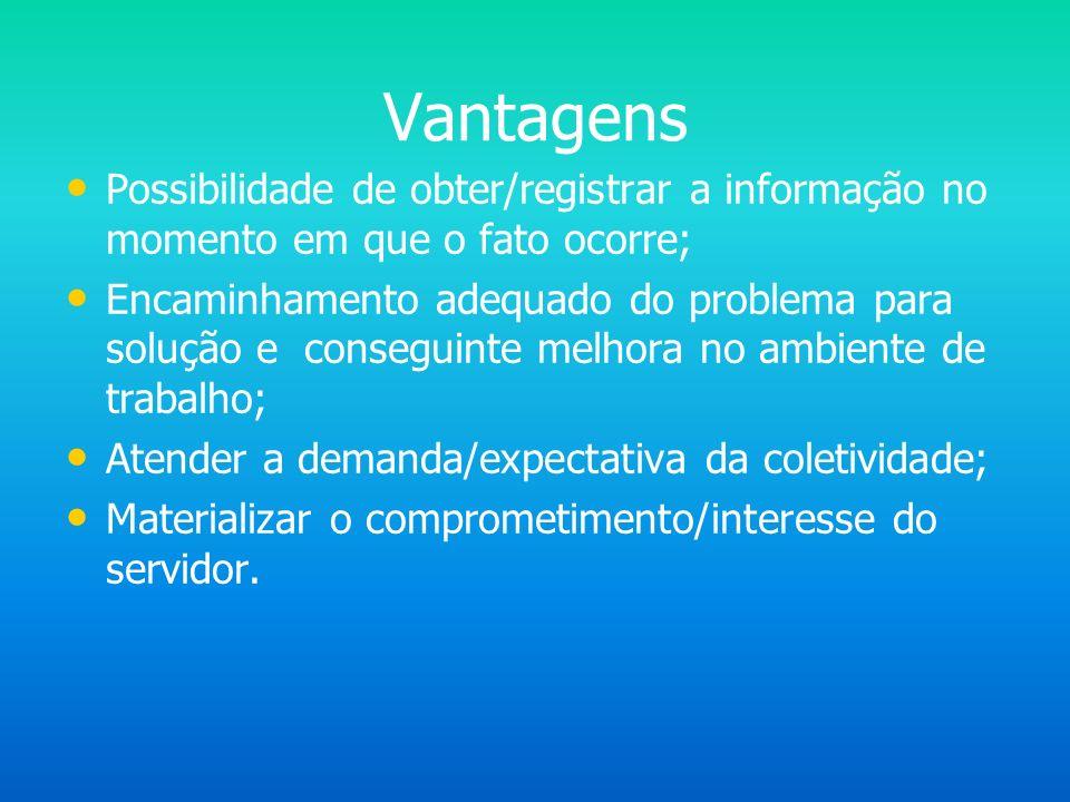 Vantagens Possibilidade de obter/registrar a informação no momento em que o fato ocorre;
