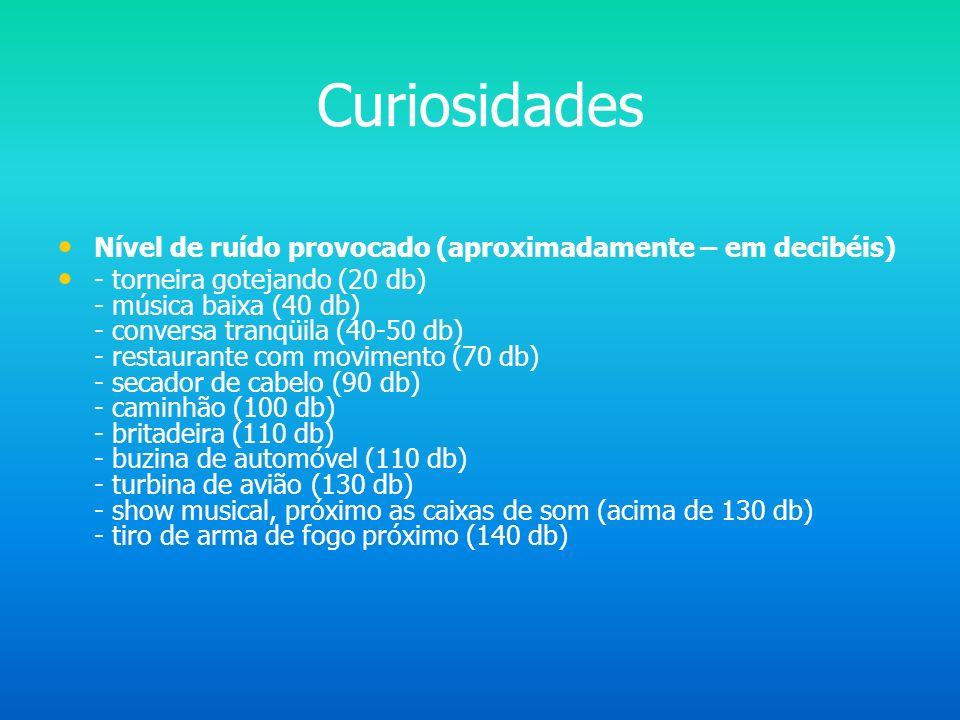 Curiosidades Nível de ruído provocado (aproximadamente – em decibéis)