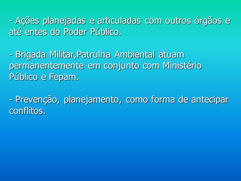 - Ações planejadas e articuladas com outros órgãos e até entes do Poder Público.