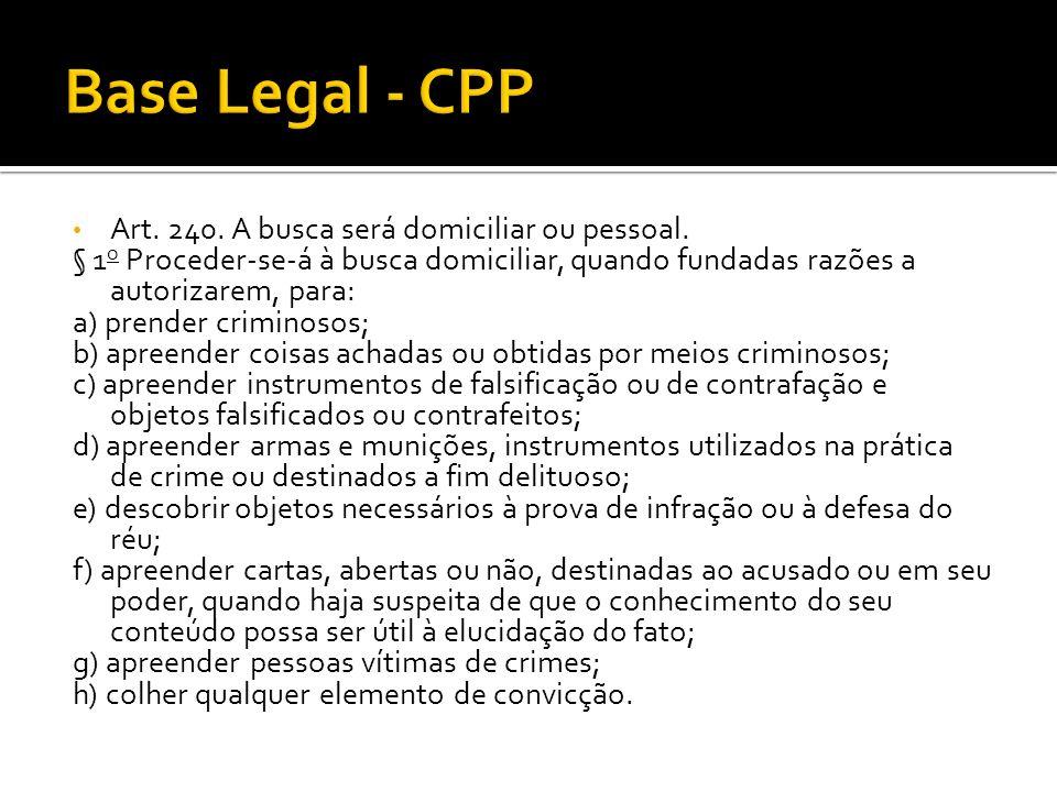 Base Legal - CPP Art. 240. A busca será domiciliar ou pessoal.