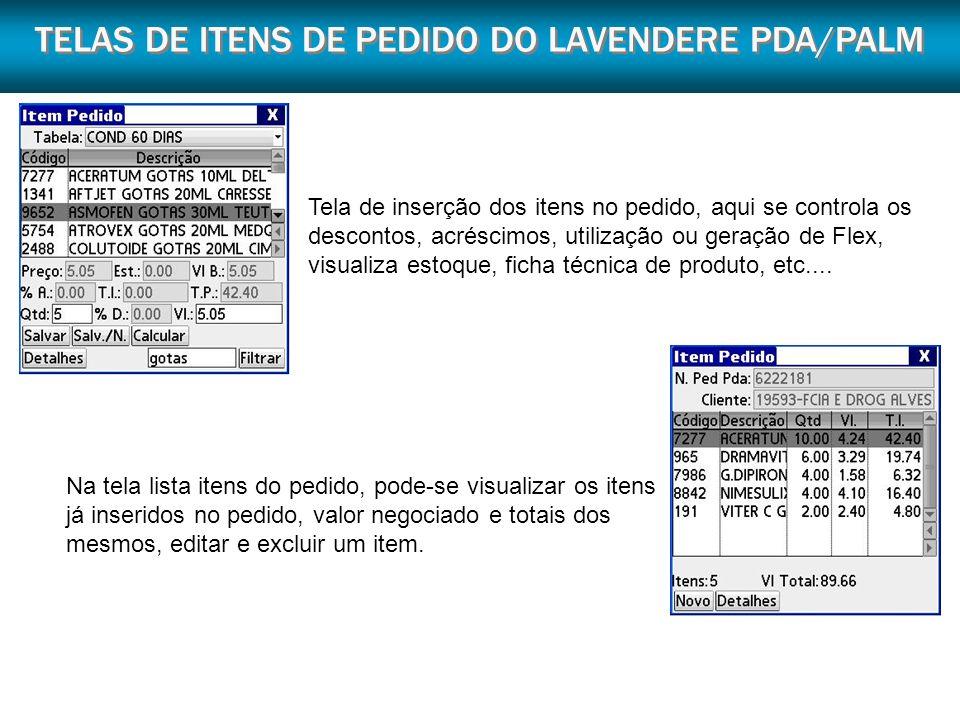 TELAS DE ITENS DE PEDIDO DO LAVENDERE PDA/PALM