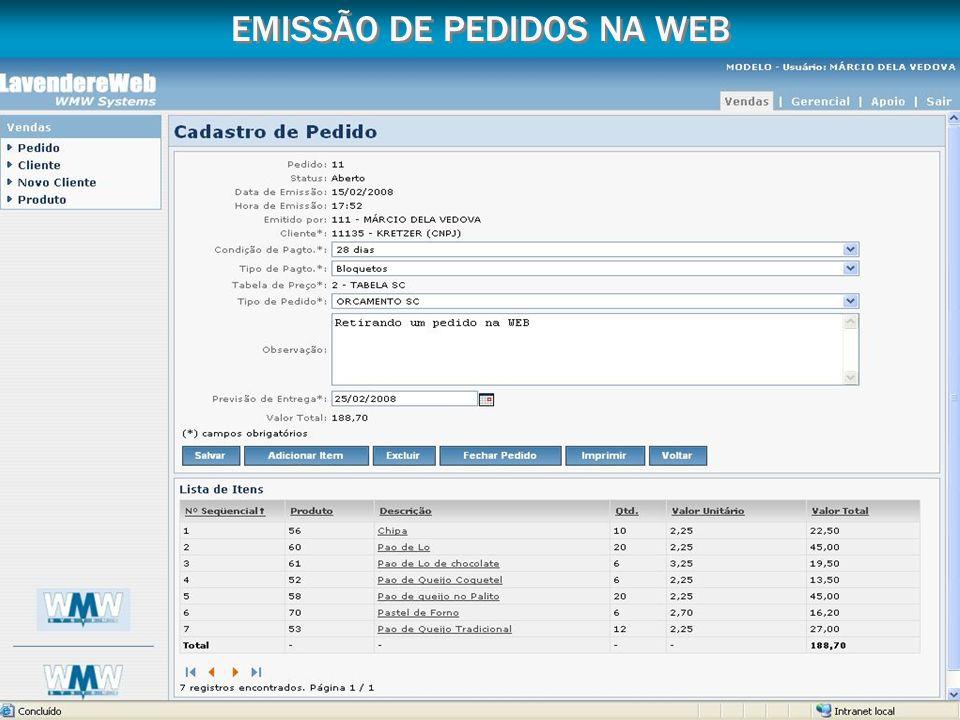 EMISSÃO DE PEDIDOS NA WEB