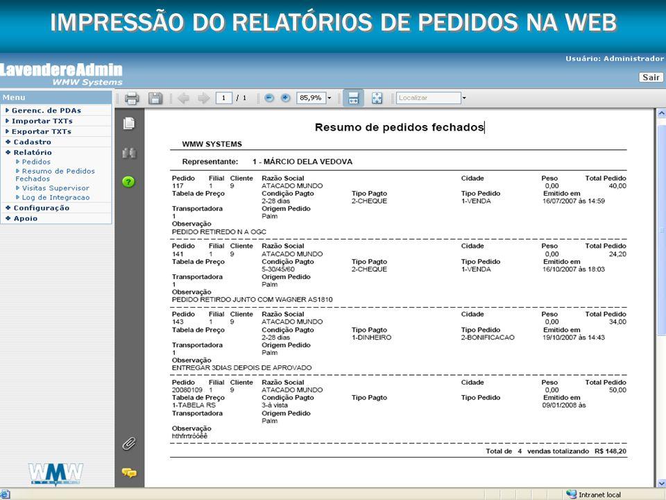 IMPRESSÃO DO RELATÓRIOS DE PEDIDOS NA WEB