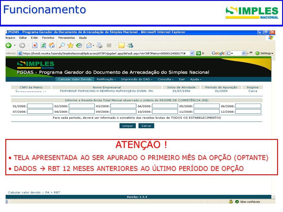 Fundamentação legal Funcionamento ATENÇÃO !