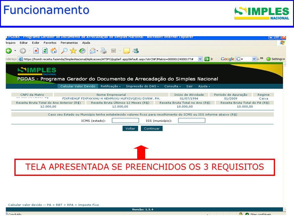 TELA APRESENTADA SE PREENCHIDOS OS 3 REQUISITOS