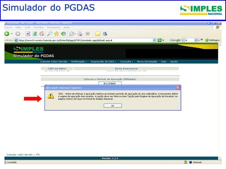 Fundamentação legal Simulador do PGDAS 00:00: