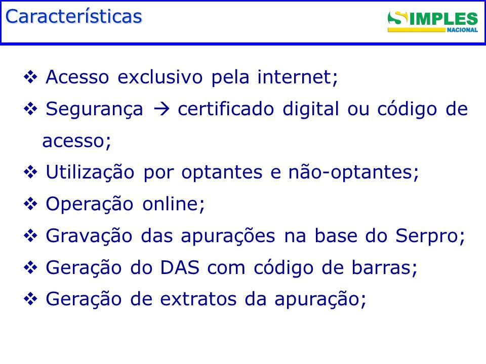 Fundamentação legal Características Acesso exclusivo pela internet;