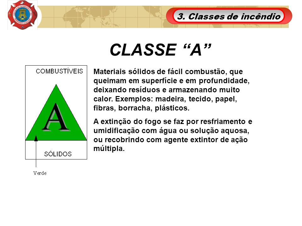 CLASSE A 3. Classes de incêndio