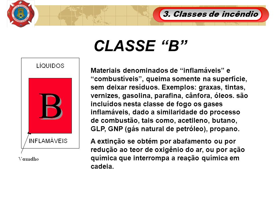 CLASSE B 3. Classes de incêndio