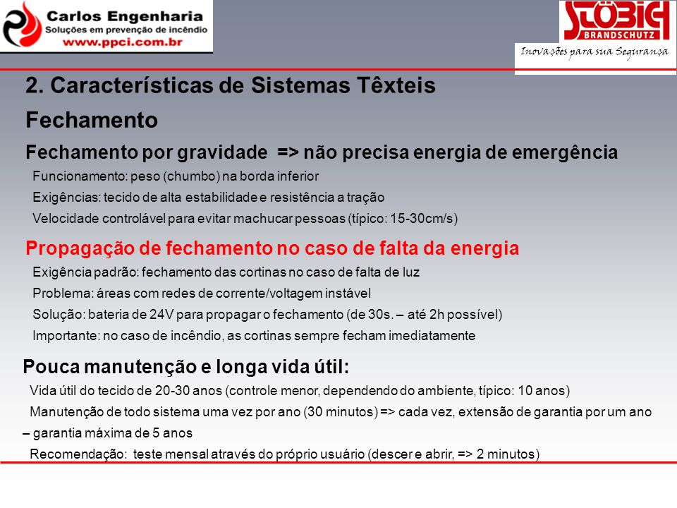2. Características de Sistemas Têxteis
