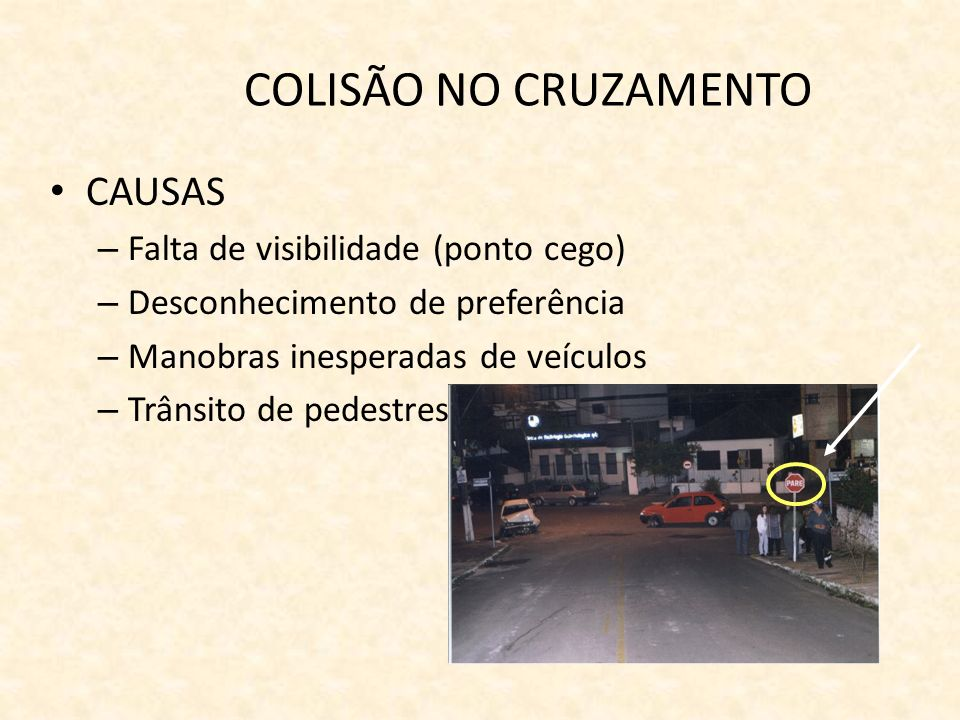 COLISÃO NO CRUZAMENTO CAUSAS Falta de visibilidade (ponto cego)
