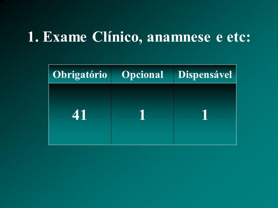 1. Exame Clínico, anamnese e etc: