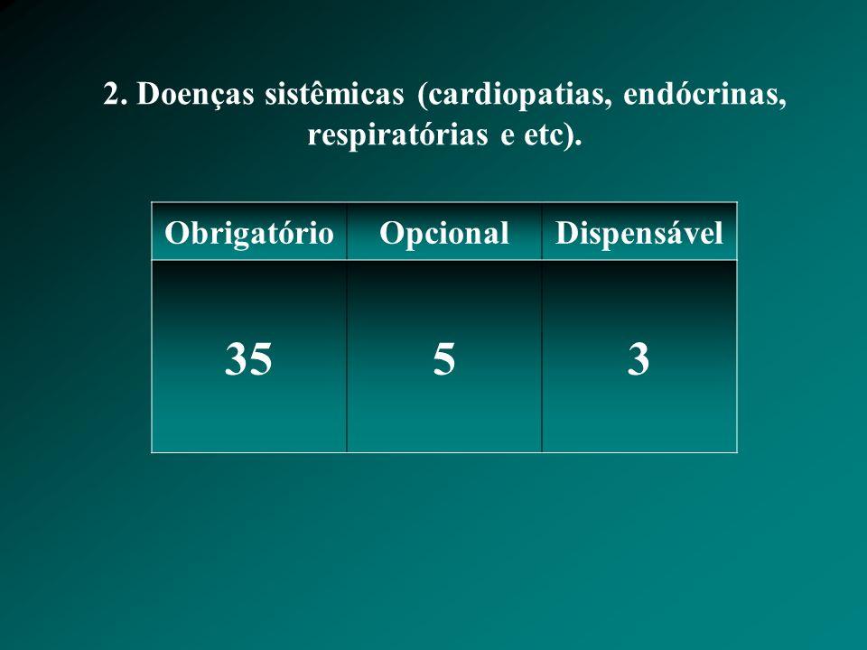 2. Doenças sistêmicas (cardiopatias, endócrinas, respiratórias e etc).