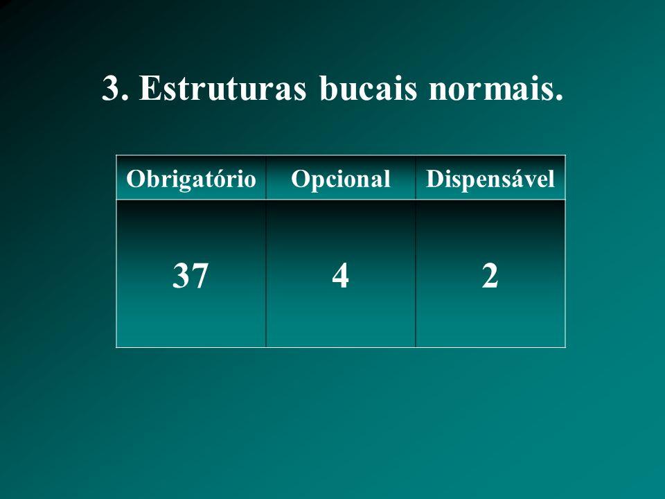 3. Estruturas bucais normais.