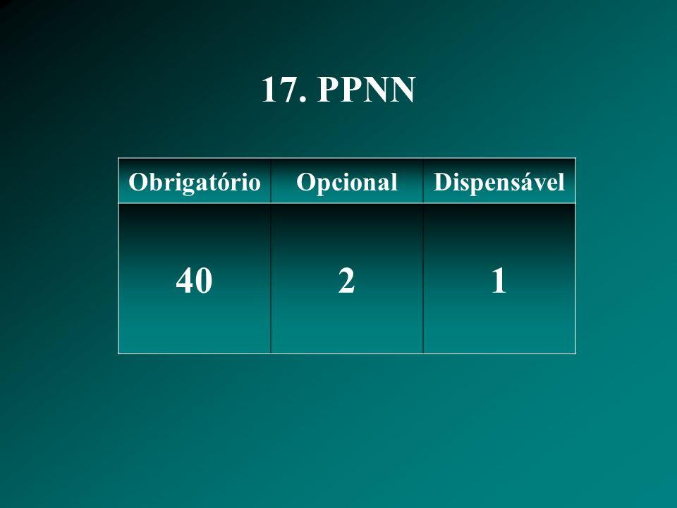17. PPNN Obrigatório Opcional Dispensável 40 2 1
