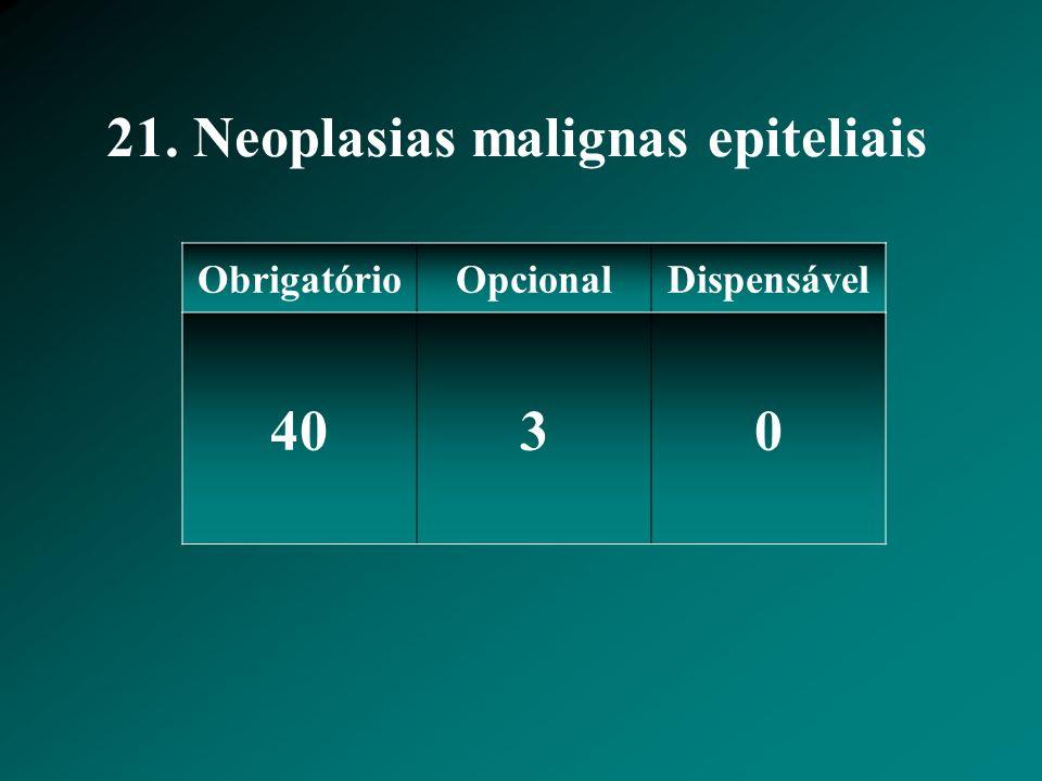 21. Neoplasias malignas epiteliais