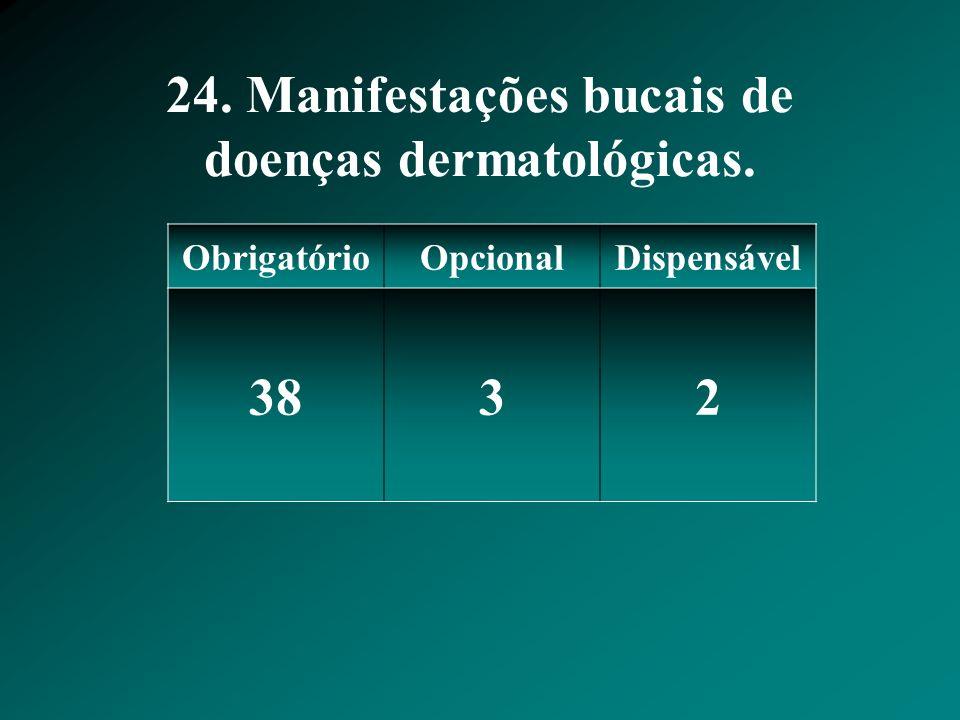 24. Manifestações bucais de doenças dermatológicas.