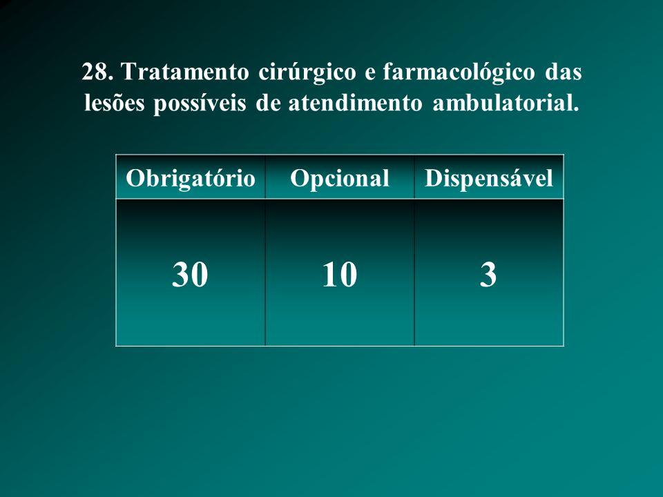 28. Tratamento cirúrgico e farmacológico das lesões possíveis de atendimento ambulatorial.