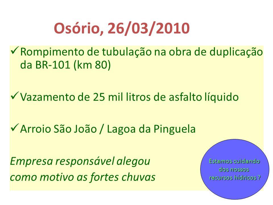 Osório, 26/03/2010 Rompimento de tubulação na obra de duplicação da BR-101 (km 80) Vazamento de 25 mil litros de asfalto líquido.