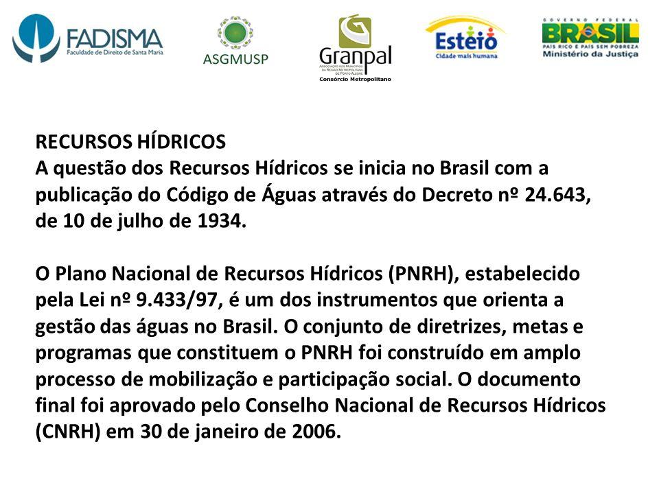 RECURSOS HÍDRICOS A questão dos Recursos Hídricos se inicia no Brasil com a publicação do Código de Águas através do Decreto nº 24.643, de 10 de julho de 1934.