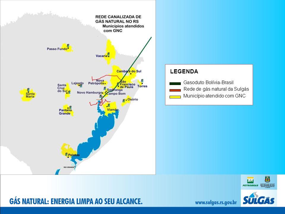 LEGENDA Gasoduto Bolívia-Brasil Rede de gás natural da Sulgás