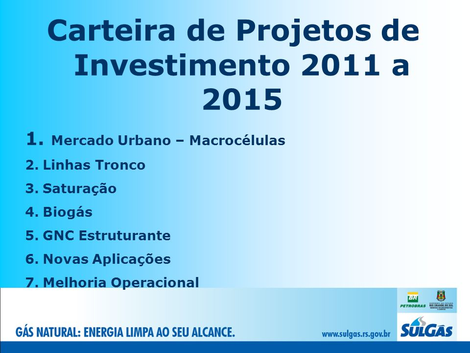 Carteira de Projetos de Investimento 2011 a 2015